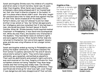 The Grimke Sisters and William Lloyd Garrison: Abolitionists