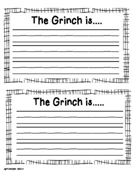 The Grinch - A writing or Adjective Craftivity