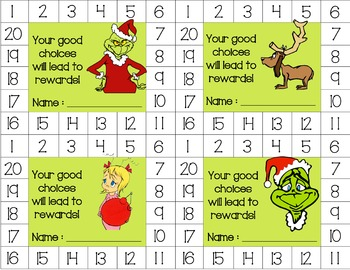 The Grinch Behavior Punch Cards