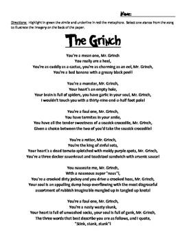 The Grinch Figurative Language Search
