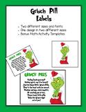 Grinch Day Grinch Pill Labels & Math Workmats