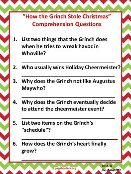 how the grinch stole christmas jim carrey movie questions and activities - How The Grinch Stole Christmas Activities