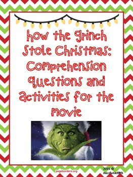 How The Grinch Stole Christmas Jim Carrey.How The Grinch Stole Christmas Jim Carrey Movie Questions And Activities