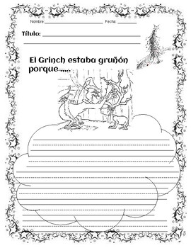 The Grinch With Writing Starters - Spanish