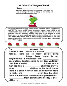 The Grinch's Change of Heart (Christmas Antonym Activity)!