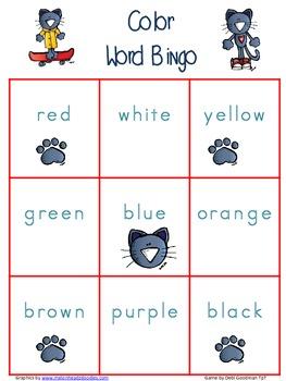The Groovy Cat Color Word Bingo