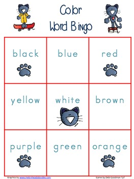 The Groovy Cat Color Word Bingo