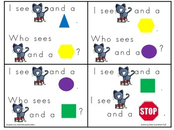 The Groovy Cat Color and 2-d Common Core Kindergarten  Shape Game