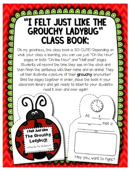 Grouchy Ladybug -- Clock Craftivity, BINGO, Write the Room and More!