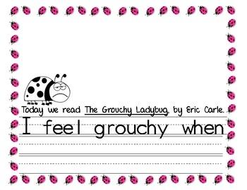 The Grouchy Ladybug Writing Response