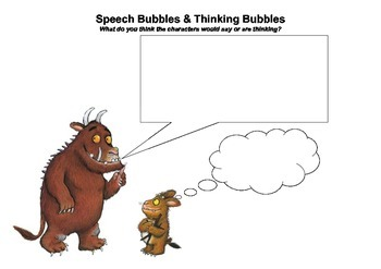 the gruffalo speech bubble and thinking bubble activity tpt. Black Bedroom Furniture Sets. Home Design Ideas