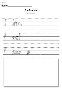 The Gruffalo by Julia Donaldson- Writing Response Worksheet Activity