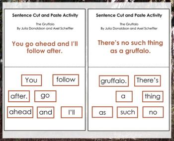 The Gruffalo by Julia Donaldson Sentence Cut and Paste Activity