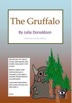 The Gruffalo by Julia Donaldson literacy unit circle comprehension HOT