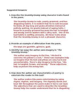The Grumbly-Grump Poem National Poetry Month Alliteration Imagery Skills