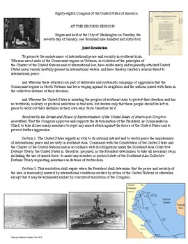 The Gulf of Tonkin Resolution Primary Source Analysis