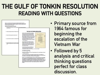 The Gulf of Tonkin Resolution Reading with Questions - USH/APUSH