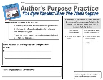 The Gym Teacher From The Black Lagoon- Author's Purpose
