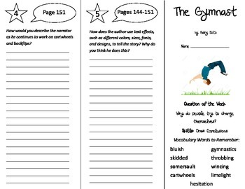 The Gymnast Trifold - Reading Street 5th Grade Unit 4 Week 5