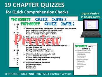 The HOBBIT Chapter Quizzes - Quick Reading Comprehension Checks