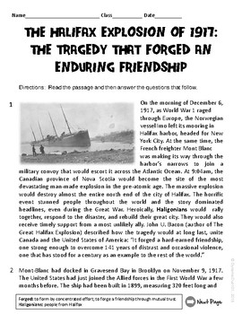 The Halifax Explosion of 1917 Informational Text ELA Test Prep Reading Passage