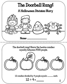 The Halloween Doorbell Rang: A Division Story Activity Book & PowerPoint 3.OA.2