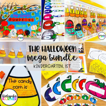 The Halloween MEGA Bundle 11 NO PREP Resources K, 1 Bulletin Boards Math ELA