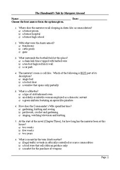 The Handmaid's Tale - 150 Question Multiple Choice Final Assessment