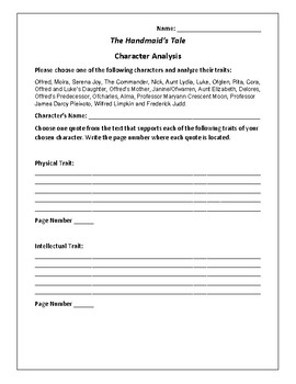 The Handmaid's Tale Character Analysis Activity - Margaret Atwood
