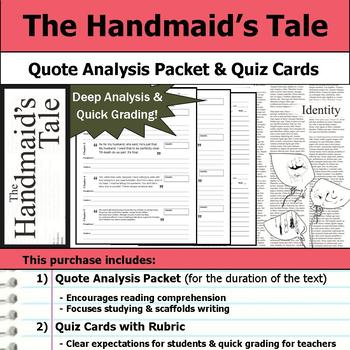 The Handmaid's Tale - Quote Analysis & Reading Quizzes