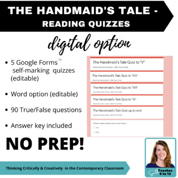 The Handmaid's Tale - Reading Quizzes & Answers - Secondary ELA
