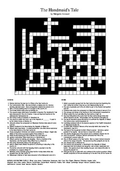 The Handmaid's Tale - Review Crossword Puzzle