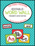 The Happy Classroom: Word Wall Headers & Words {Color and B&W}