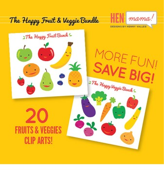 The Happy Fruit & Veggie Clip Art Bundle! BIG SAVINGS!