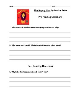 The Happy Lion by Louise Fatio Comprehension Questions Extension Activities