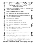 The Happy Substitute Teacher Daily Checklist and Class Rev