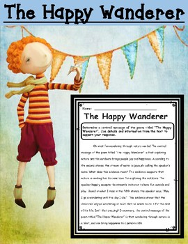 The Happy Wanderer Central Message Writing Task with Accompanying Exemplar