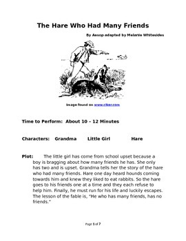 The Hare Who Had Many Friends - Small Group Reader's Theater by Aesop