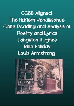 The Harlem Renaissance Close Reading and Analysis of Poetry and Lyrics