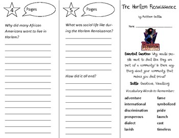 The Harlem Renaissance Trifold - Open Court 3rd Grade Unit 3 Lesson 2