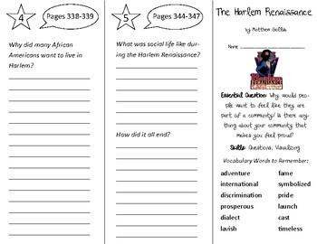 The Harlem Renaissance Trifold - Open Court 3rd Grade Unit 3 Lesson 2