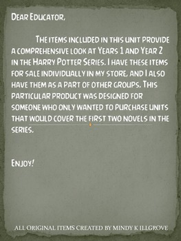The Harry Potter Series By J.K. Rowling: Years 1 and 2 Study Units