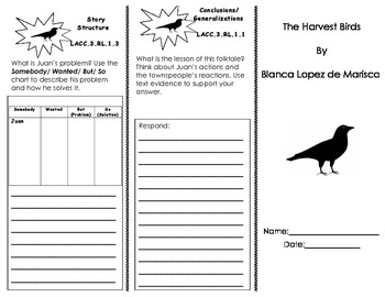 The Harvest Birds Trifold/ 3rd Grade Journeys HMH Common Core