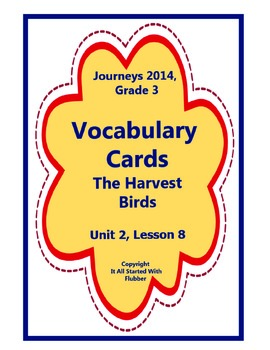 The Harvest Birds, Vocabulary Cards, Unit 2, Lesson 8, Jou