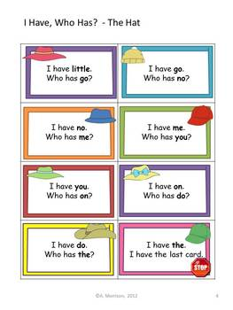 """The Hat """"I HAVE, WHO HAS?"""" Sight Word Practice for Harcourt Trophies"""