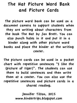 The Hat Picture Word Bank and Picture Cards