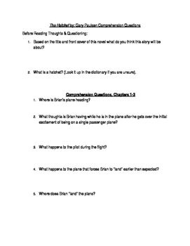 The Hatchet by Gary Paulsen Workbook