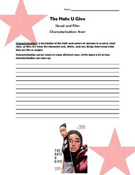 The Hate U Give Character Worksheet