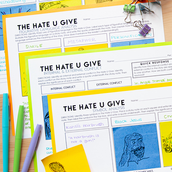 The Hate U Give: Literary Analysis with Sticky Notes