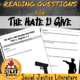 The Hate U Give Reading Comprehension Questions Worksheets
